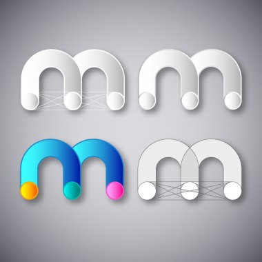 Abstract Vector Combination of Letter M