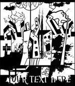 Fotografia illustrazione bizzarro con scena di città, persona ed edifici, sfondo grunge per il testo