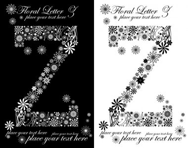two black and white letters of vintage floral alphabet, Z