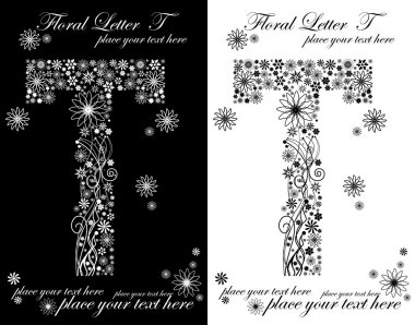 two black and white letters of vintage floral alphabet, T