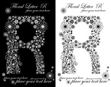 Two black and white letters of vintage floral alphabet, R