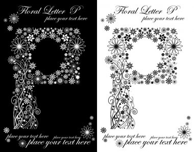 Two black and white letters of vintage floral alphabet, P