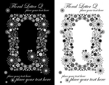 Two black and white letters of vintage floral alphabet, Q