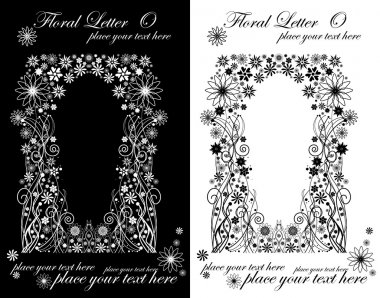 Two black and white letters of vintage floral alphabet, O