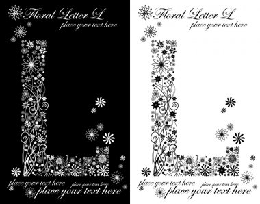 Two black and white letters of vintage floral alphabet, L
