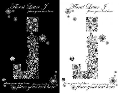 two black and white letters of vintage floral alphabet, J