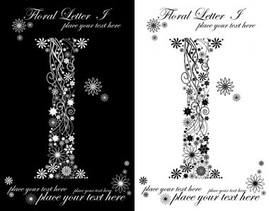 two black and white letters of vintage floral alphabet, I