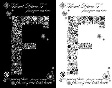 two black and white letters of vintage floral alphabet, F
