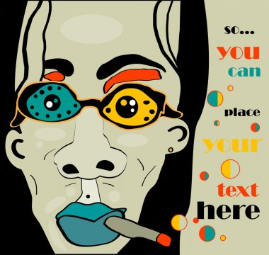 vector long-haired rock man with cigarette and glasses and khaki grunge background, retro style