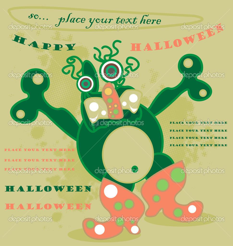 monstruo verde lindo vector Halloween en botas de color rosa ...