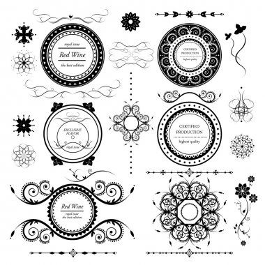 vintage labels vector set and different calligraphic design elem