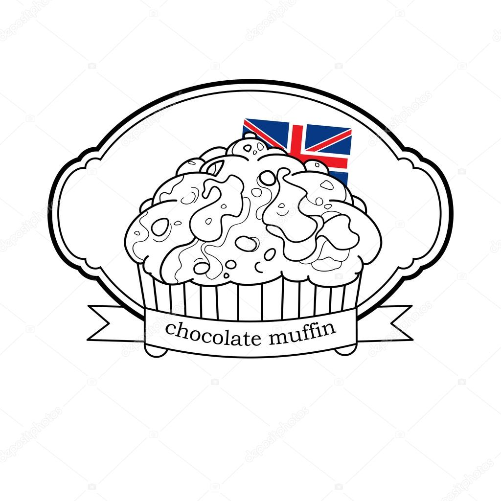 logotipo de panecillo dulce con la bandera de Gran Bretaña y marco ...