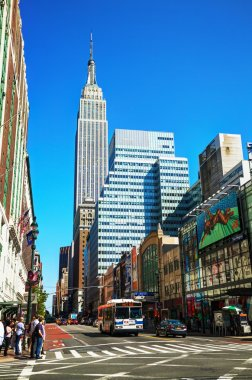 New York street with Empire State building