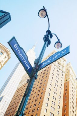 Broadway sign and Empire State building
