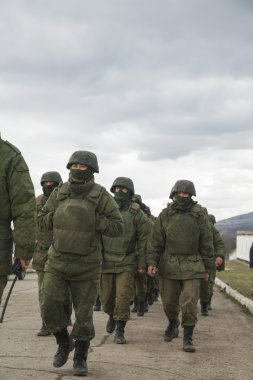 Russian soldiers on march in Perevalne, Crimea
