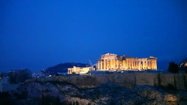 Akropole v Athénách, Řecko večer po západu slunce