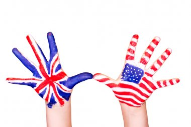 American and English flags on hands.