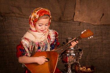 Beautiful russian girl in a shawl