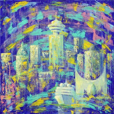 Abstract painting of the Vancouver City.