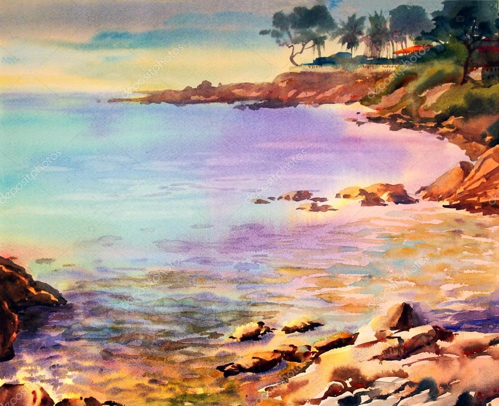 Watercolor painting seascape