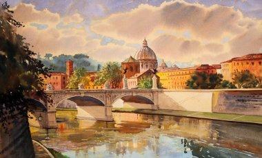 Basilica San Pietro and Ponte Vittorio Emanuele in Rome, Italy.