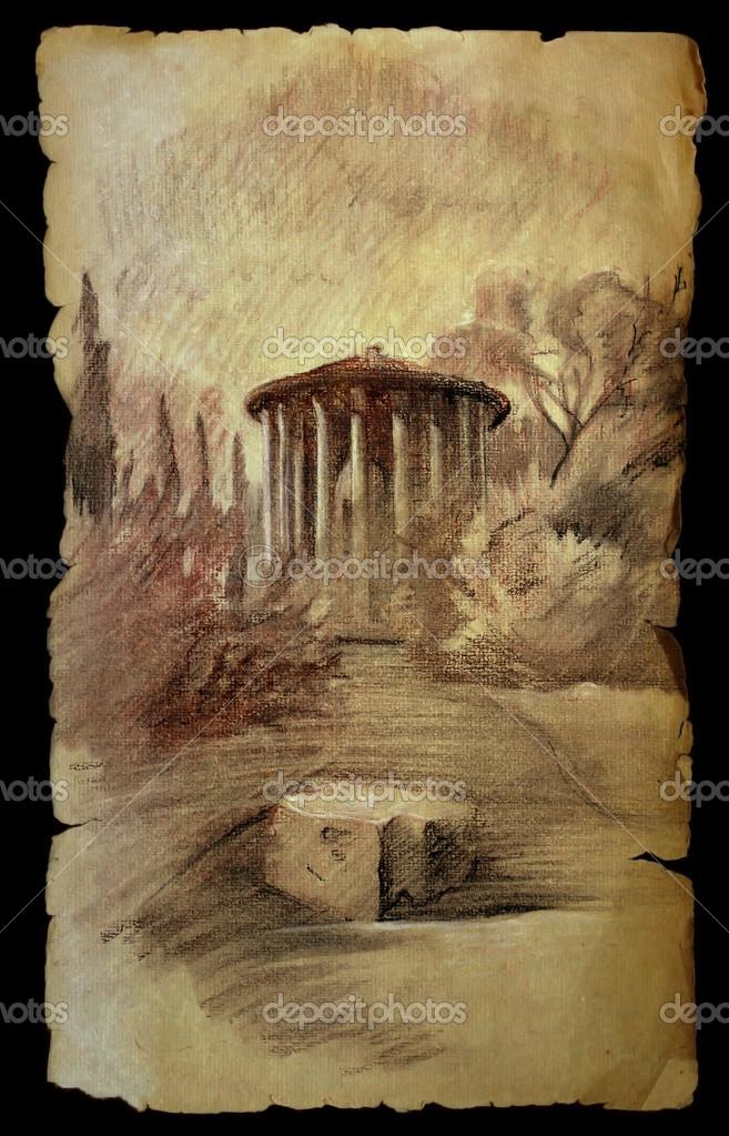 RomaItaliaPintado De Papel El Templo Aislado VestaEn Viejo Rj35AScLq4