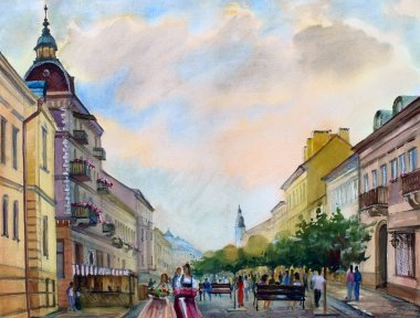 Watercolor painting of the cityscape of the Chernivtsi city, Ukraine.