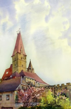 Watercolor painting of the old tower in Weisskirchen, Austria