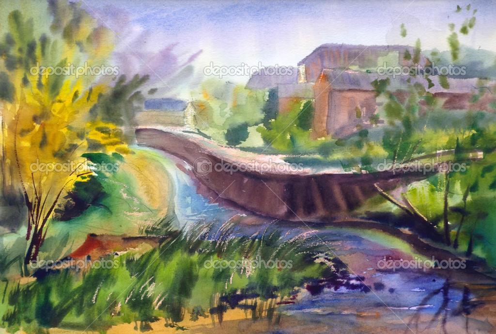Paesaggio Autunnale Del Paese Dipinto Da Acquerello Foto Stock