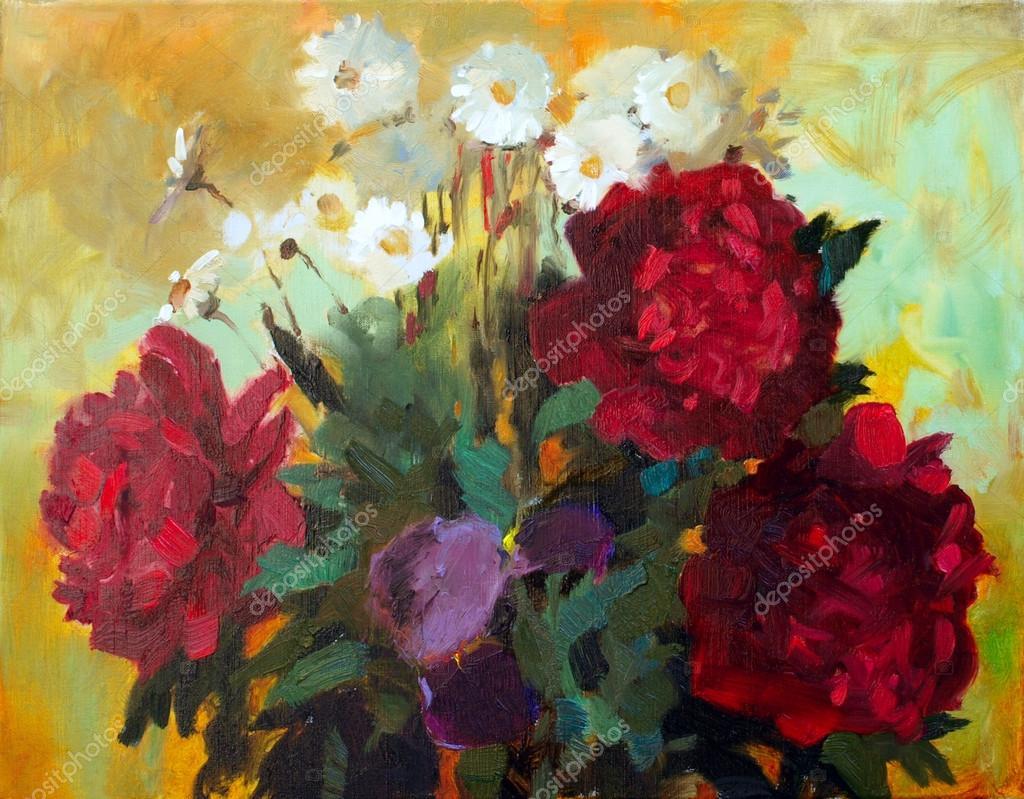Oil painting of the beautiful flowers stock photo denyskuvaiev oil painting of the beautiful flowers stock photo izmirmasajfo