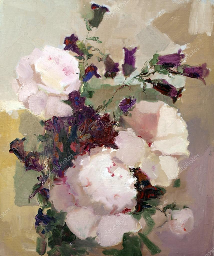 dipinto ad olio di bei fiori — Foto Stock © DenysKuvaiev #48217897