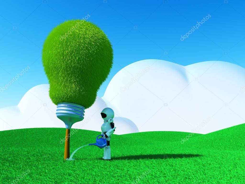 Robot watering lightbulb-tree