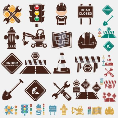 Road set of icons in five colors