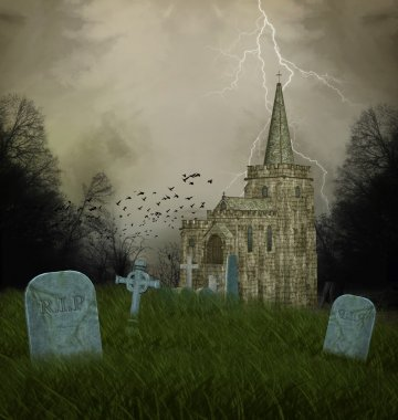 Old church and graves - halloween illustration stock vector
