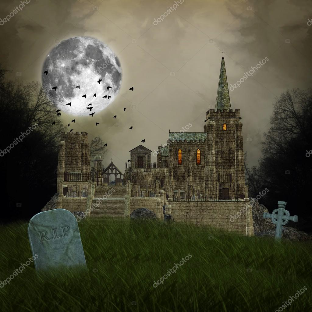 Old village and graves - halloween illustration