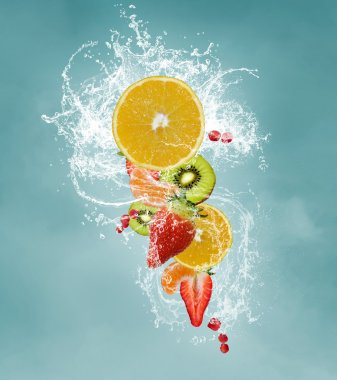 Fresh fruits splash stock vector