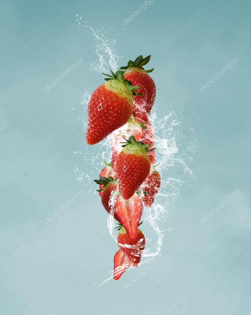 Fruits in a water splash