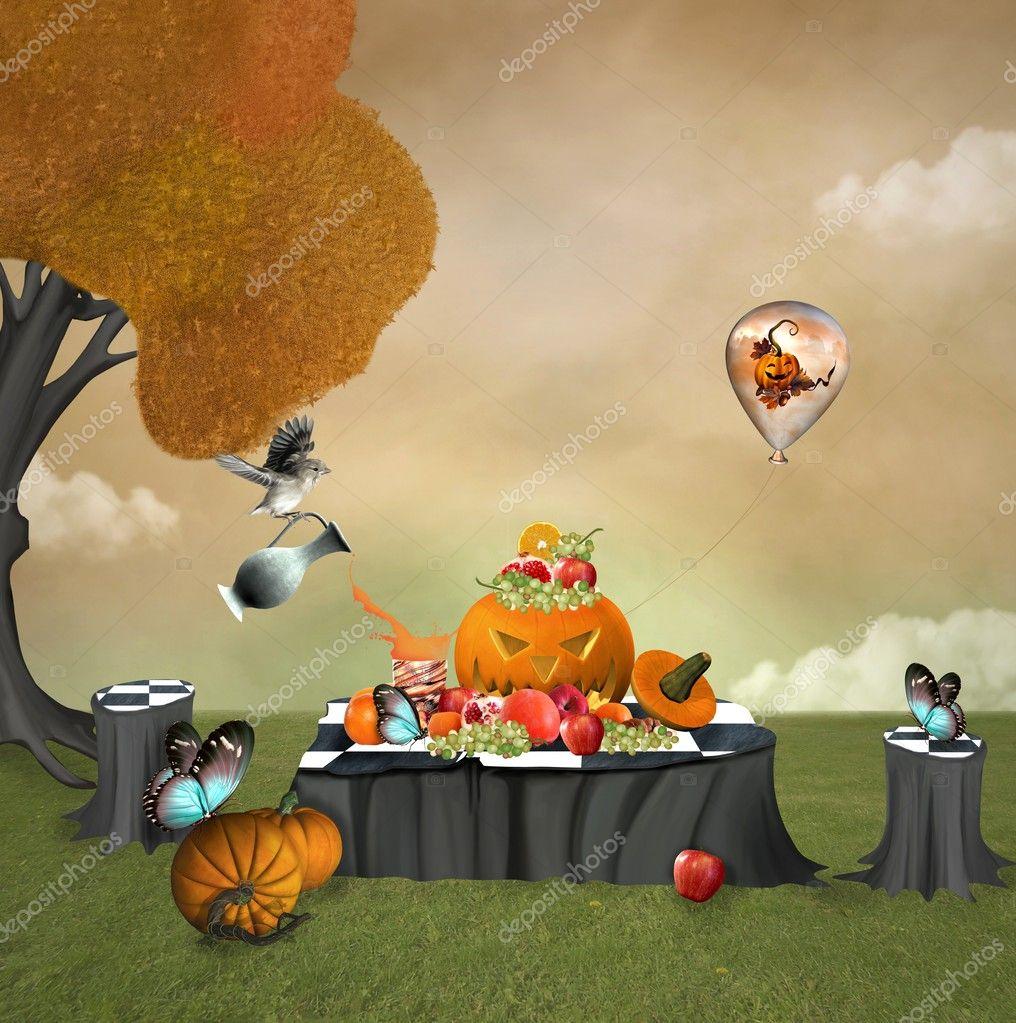 Autumnal fruits picnic