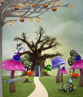 Wonderland series - Wonderland garden stock vector