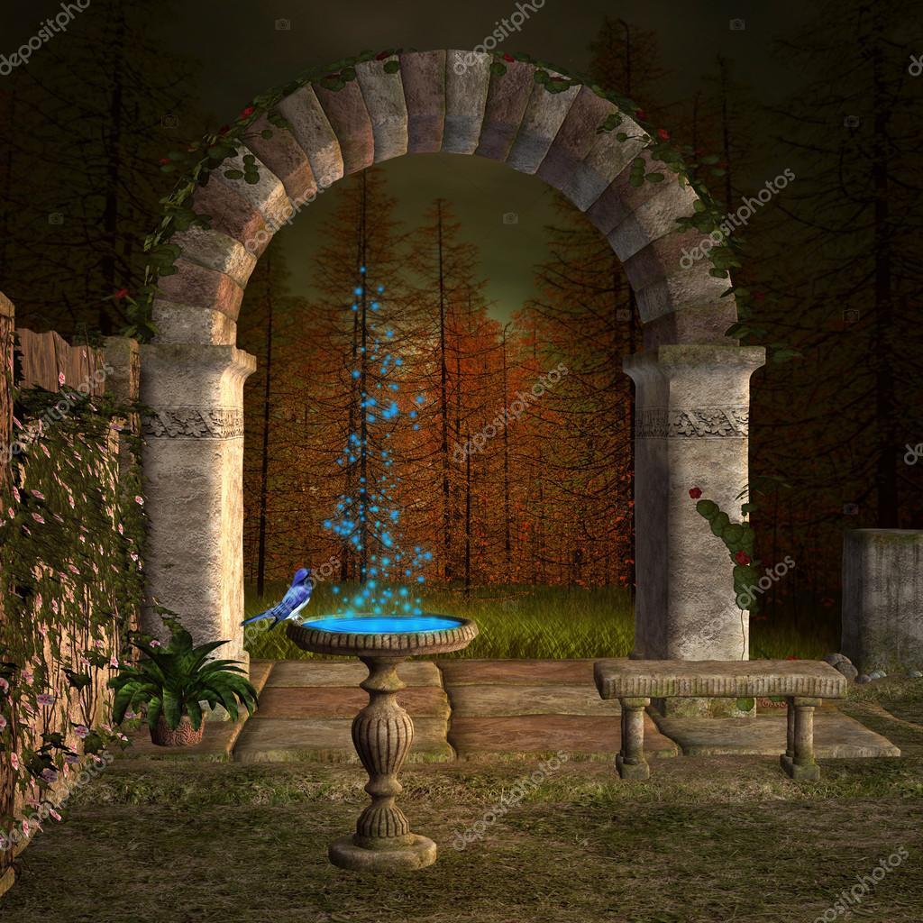 Fountain in an enchanted garden