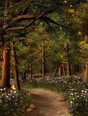 Goldene Strahlen in den Wald