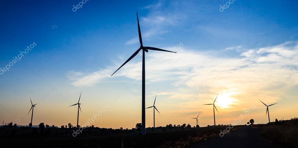 Wind turbines in sunset