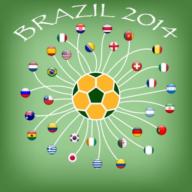 Flag of soccer team in world cup 2014