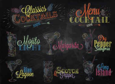Set of cocktail menu in vintage style