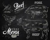 Fényképek A hús steak tehén sertés csirke hús részekre bontva menü