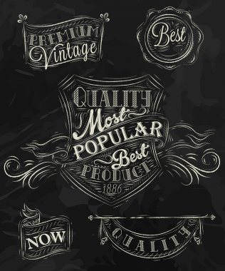 Set of retro styled chalk drawings
