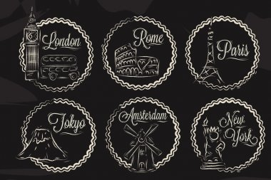 Icons with world cities