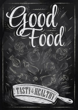 Poster good food with frying pan