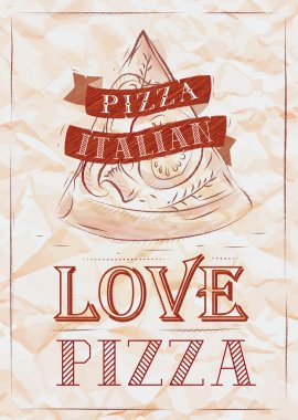 Poster with pizza and a slice of pizza