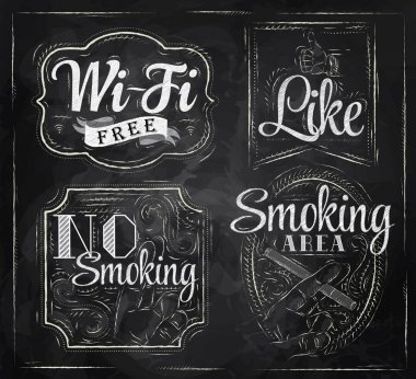 Set signs Wi fi free, smoking area, no smoking, like